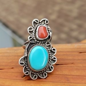 Navajo Turquoise Coral Sterling Silver Ring SZ 5.5